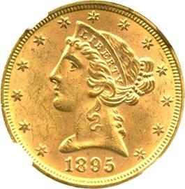 Image of 1895 $5 NGC MS64