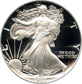 Image of 1987-S Silver Eagle $1 PCGS Proof 69 DCAM