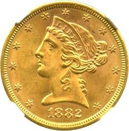 Image of 1882-S $5 NGC MS64
