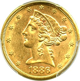 Image of 1886-S $5 PCGS MS61