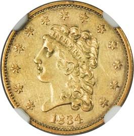 Image of 1834 Classic Head $2 1/2 NGC AU53