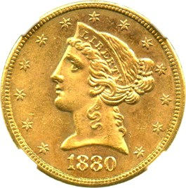 Image of 1880-S $5 NGC MS64