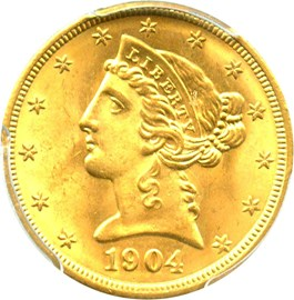 Image of 1904 $5 PCGS MS65
