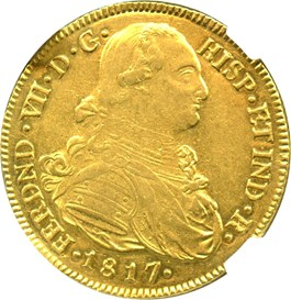 Image of Colombia: 1817-P FM Gold 8 Escudos NGC AU58 (KM-66.2) 0.7614 oz gold
