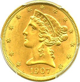 Image of 1907-D $5 PCGS MS62