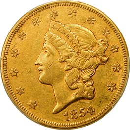 Image of 1854 $20 PCGS AU50 (Small Date)