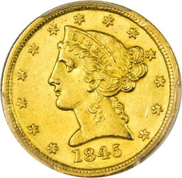 Image of 1845-D $5 PCGS MS61