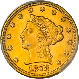 Image of 1878 $2 1/2 PCGS/CAC MS63