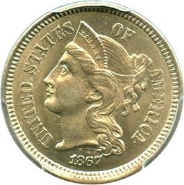 Image of 1867 3cN PCGS/CAC MS65