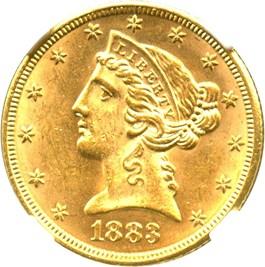 Image of 1883 $5 NGC MS62