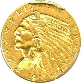 Image of 1911 $2 1/2 PCGS AU55