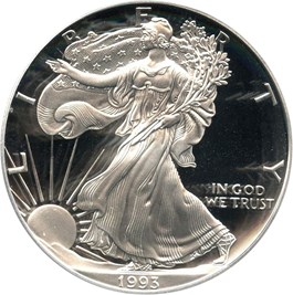 Image of 1993-P Silver Eagle $1 PCGS Proof 69 DCAM