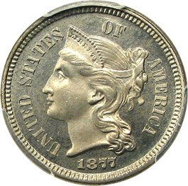 Image of 1877 3cN PCGS/CAC Proof 65