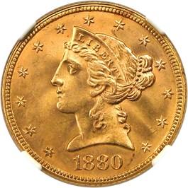 Image of 1880 $5 NGC MS66