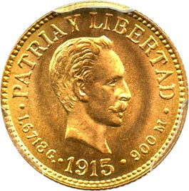 Image of Cuba: 1915 Gold Peso PCGS Secure MS66 (KM-16) 0.0483 oz. gold