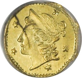Image of California Gold: 1854 25c PCGS MS60 (BG-105)