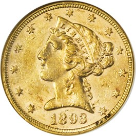 Image of 1893 $5 ANACS AU58