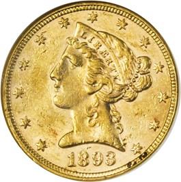 Image of 1893 $5 ANACS AU58