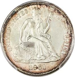 Image of 1861 10c PCGS MS64