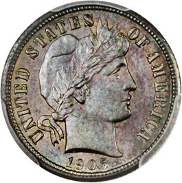 Image of 1905-S 10c PCGS/CAC MS64