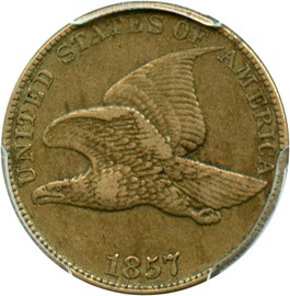 Image of 1857 Flying Eagle 1c PCGS VF35