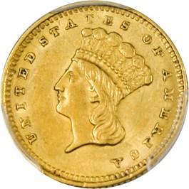 Image of 1861 G$1 PCGS AU58