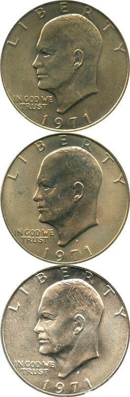 Image of Collector lot of 1971 PDS Eisenhower $1: All PCGS MS65 (3 Coins)