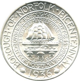 Image of 1936 Norfolk 50c PCGS MS66