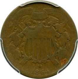 Image of 1864 2c PCGS Good-4 (Small Motto)
