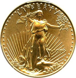 Image of 1999 Gold Eagle $25 PCGS MS69