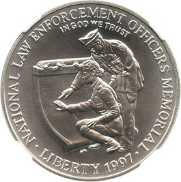 Image of 1997-P Law Enforcement/Officers Memorial $1 NGC MS70