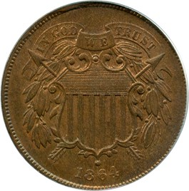 Image of 1864 2c PCGS/CAC MS65 BN (Large Motto)