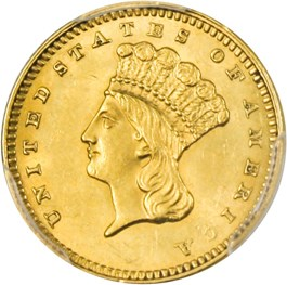 Image of 1862 G$1 PCGS MS62