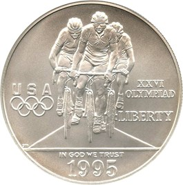 Image of 1995-D Olympic Cycling $1 NGC MS70