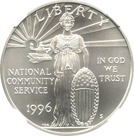 Image of 1996-S National Community Service $1 NGC MS70