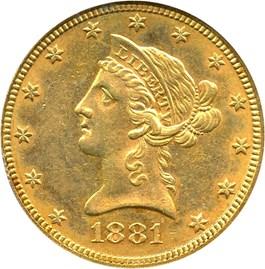 Image of 1881 $10 PCGS AU55