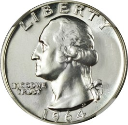 Image of 1964 25c NGC Proof 69