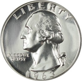 Image of 1963 25c NGC Proof 69
