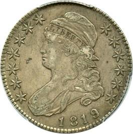 Image of 1819/8 50c PCGS/CAC XF45 (O-105, Large 9)