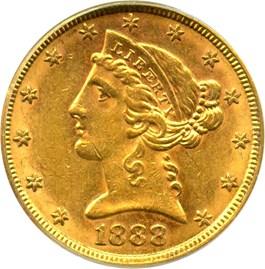 Image of 1888-S $5 PCGS/CAC AU55