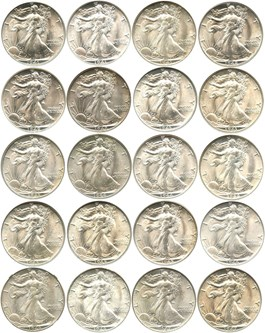 Image of 1941-1947 Short Set of Walking Liberty 50c: All NGC/CAC MS65 (20 Coins)