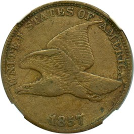 Image of 1857 Flying Eagle 1c NGC XF40 (Dies clashed with Seated 50c, Snow-9)