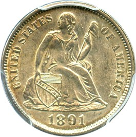 Image of 1891 10c PCGS/CAC MS64
