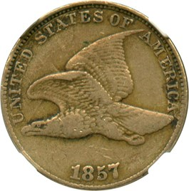 Image of 1857 Flying Eagle 1c NGC VF30 (Dies clashed with Seated 50c, Snow-9)