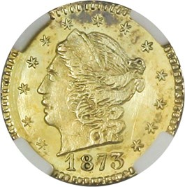 Image of California Gold: 1873 25c NGC MS66 (Round Liberty, BG-817)
