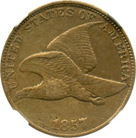 Image of 1857 Flying Eagle 1c NGC XF45 (Dies clashed with Seated 50c, Snow-9)