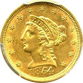 Image of 1854 $2 1/2 PCGS/CAC AU58