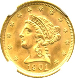 Image of 1901 $2 1/2 NGC/CAC MS66+