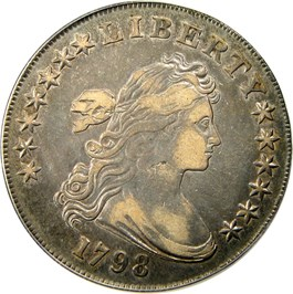Image of 1798 $1 PCGS/CAC VF35 (Large Eagle, Knob 9, 10 Arrows)