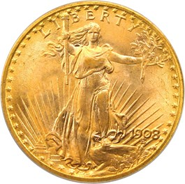 Image of 1908 $20 PCGS MS66 (No Motto, Wells Fargo Nevada Gold Hoard)